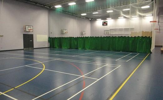 Regular sports hall curtain drawn1
