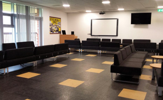 Regular 8. small event room lounge area with av