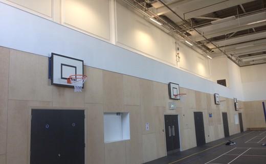 Regular sports hall side wall hoops
