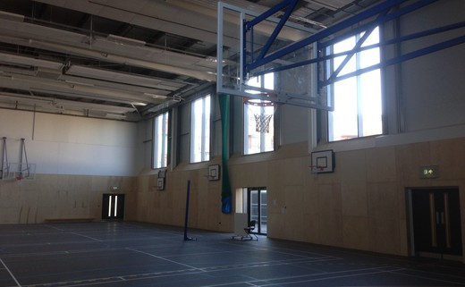 Regular sports hall windows and bb hoops